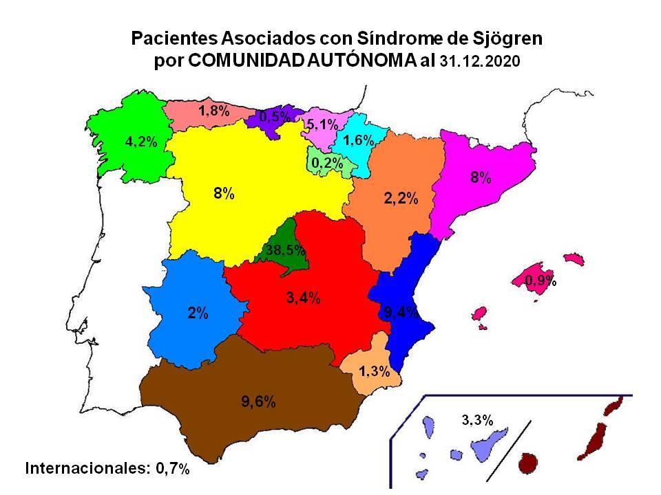 Pacientes por CCAA del Síndrome de Sjögren